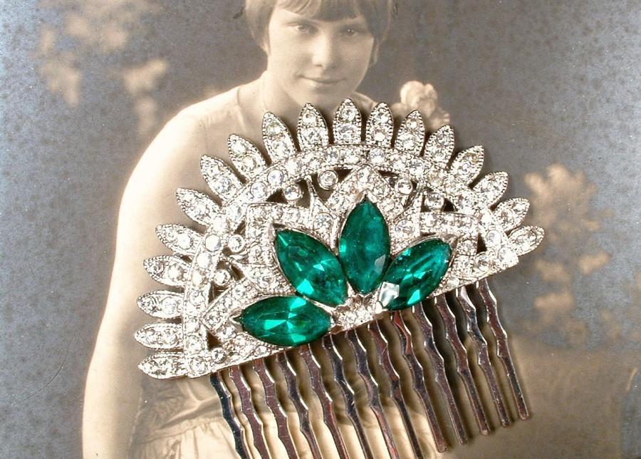 Wedding - 1920s Art Deco Emerald Green Bridal Hair Comb, 1930s Vintage Rhinestone Fan Silver Dress Clip to Hairpiece Antique Gatsby Wedding Headpiece