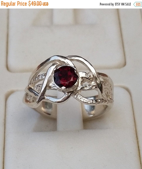 Mariage - On Sale Silver Ring Sterling Silver 925 Gemstones Garnet Handmade Artisan Crafted Women Size 8 Free Shipping