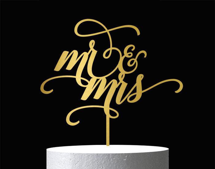 Свадьба - Mr and Mrs Cake Topper - Wedding Cake Topper - Wooden Cake Topper