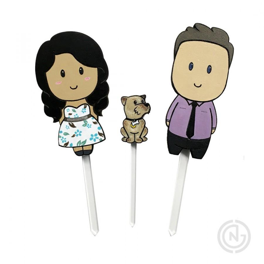 Wedding - Wedding Cake Topper, Pet, Dog, Laser Cut, Cute Toppers, Custom Cake Topping Unique Cartoon, Toppers Cute,  Rustic Topper, Engagment