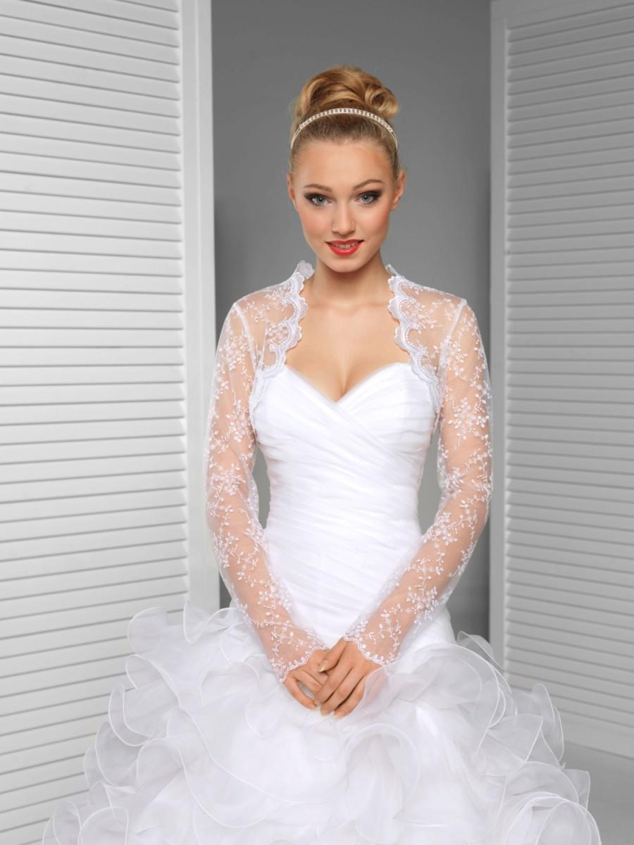 Hochzeit - Long sleeve embroidered tulle Bridal Bolero Wedding Shrug Bridal Jacket