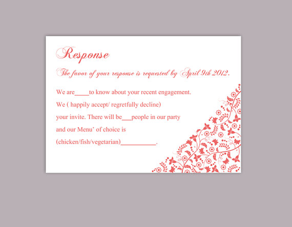Wedding - DIY Wedding RSVP Template Editable Word File Instant Download Rsvp Template Printable RSVP Cards Red Rsvp Card Template Elegant Rsvp Card
