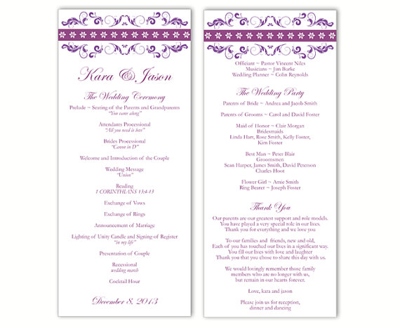 Свадьба - Wedding Program Template DIY Editable Text Word File Instant Download Program Purple Wedding Program Floral Program Printable Program 4x9.25