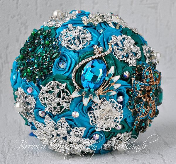 Свадьба - Turquoise and Emerald Brooch Bouquet, Wedding Brooch Bouquet, Peacock Bridal Bouquet, Green Bouquet, Rhinestone Bouquet, Broach Bouquet