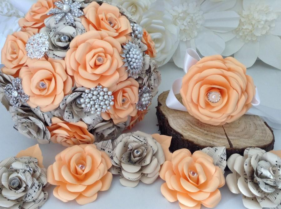 Paper Flower Bouquets Flowers Brooch Detail Roses Apricot Peach Sheet Music Silk Foam First Anniversary