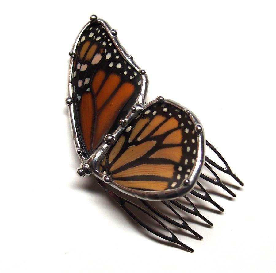 Mariage - Real Monarch Butterfly Hair Comb