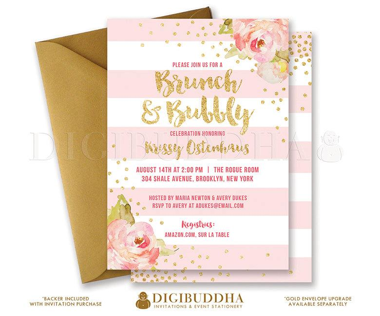 2d19505cf127 BRUNCH   BUBBLY INVITATION Bridal Shower Invite Pink Peonies Blush Stripes  Gold Glitter Confetti Printable Rose Free Shipping or DiY- Krissy