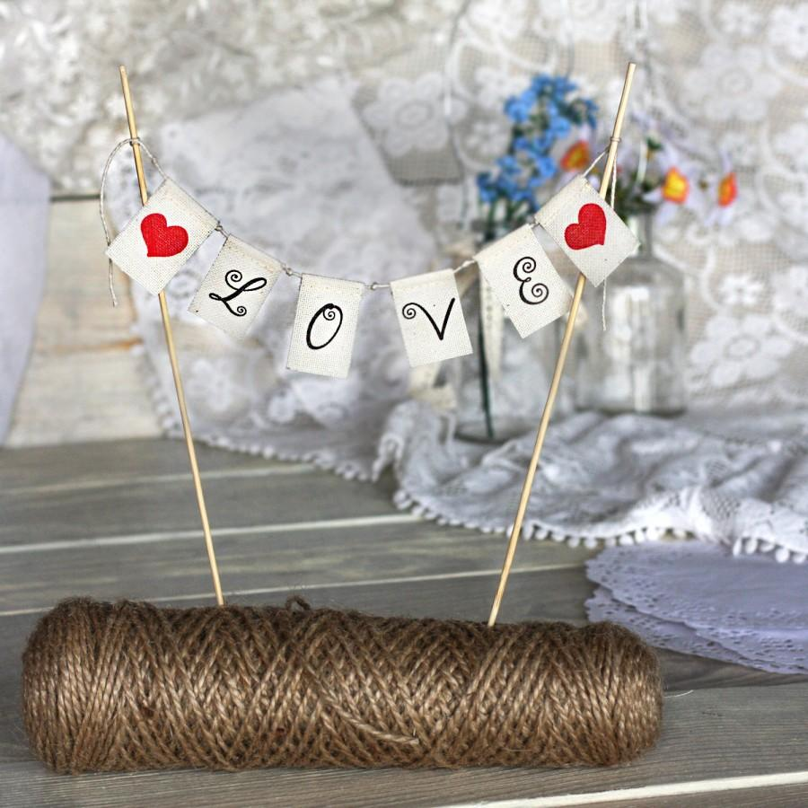 Свадьба - LOVE Wedding Cake Topper Banner with red heart