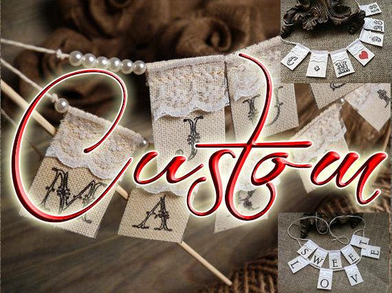 Wedding - Сustom Lace Wedding Cake Topper Banner with pearls