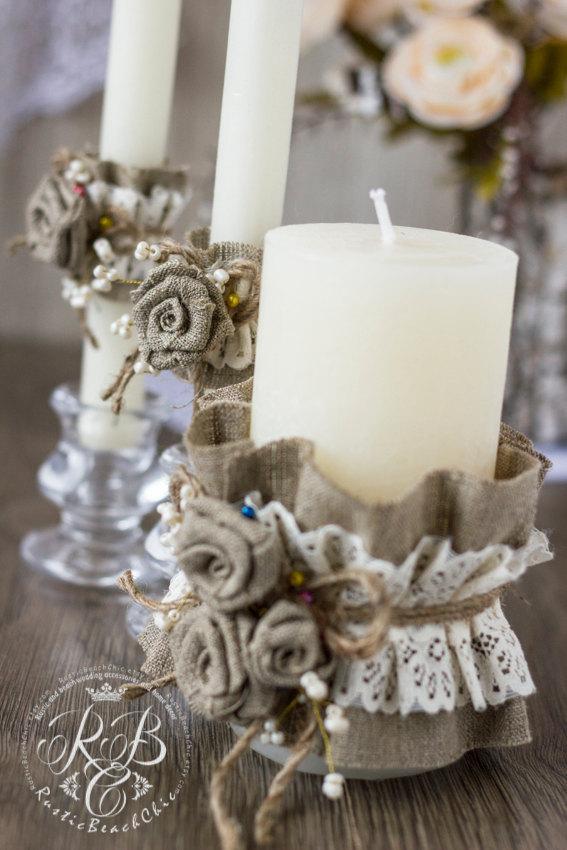 زفاف - Rustic  Unity candles  Rustic Chic Wedding  with burlap flowers ivory lace brown rope burlap roseflowers handmade3 pcs