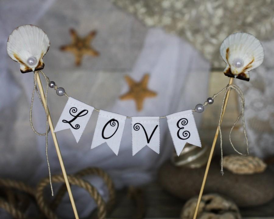Mariage - BEACH LOVE Wedding Cake Topper Banner with seashells