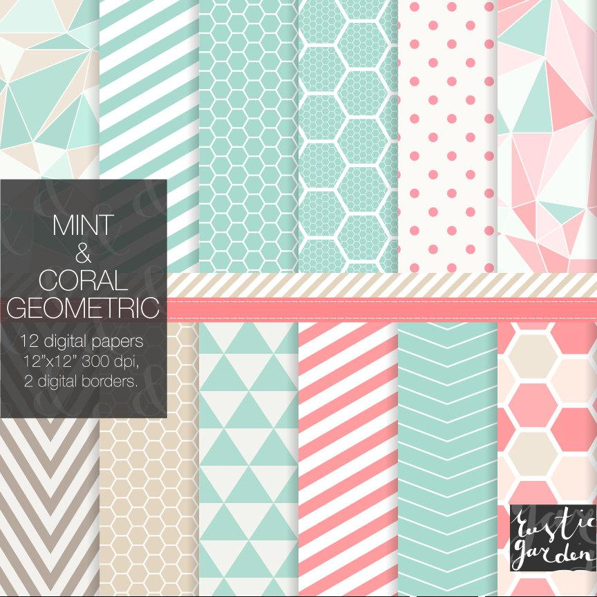 Hochzeit - Mint, coral and sand digital paper pack. Geometric but still cute and lovely patterns. PNG files for small commercial use. Love them all!!