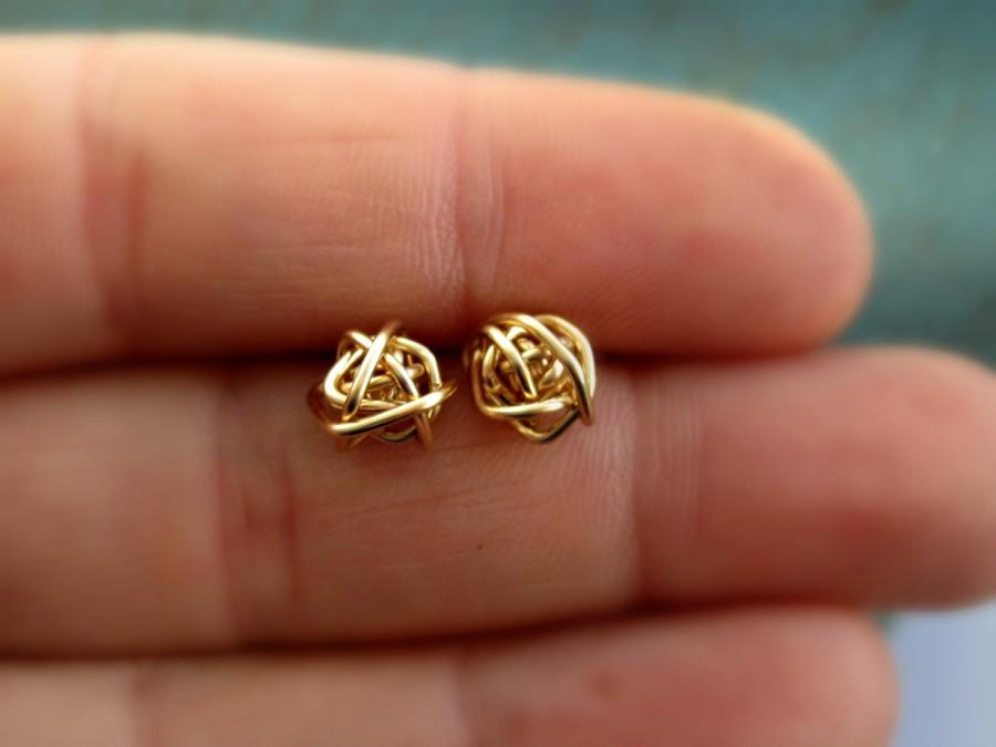 Bridesmaid Gold Earrings Love Knot Tiny Stud Tie The Gift For Her