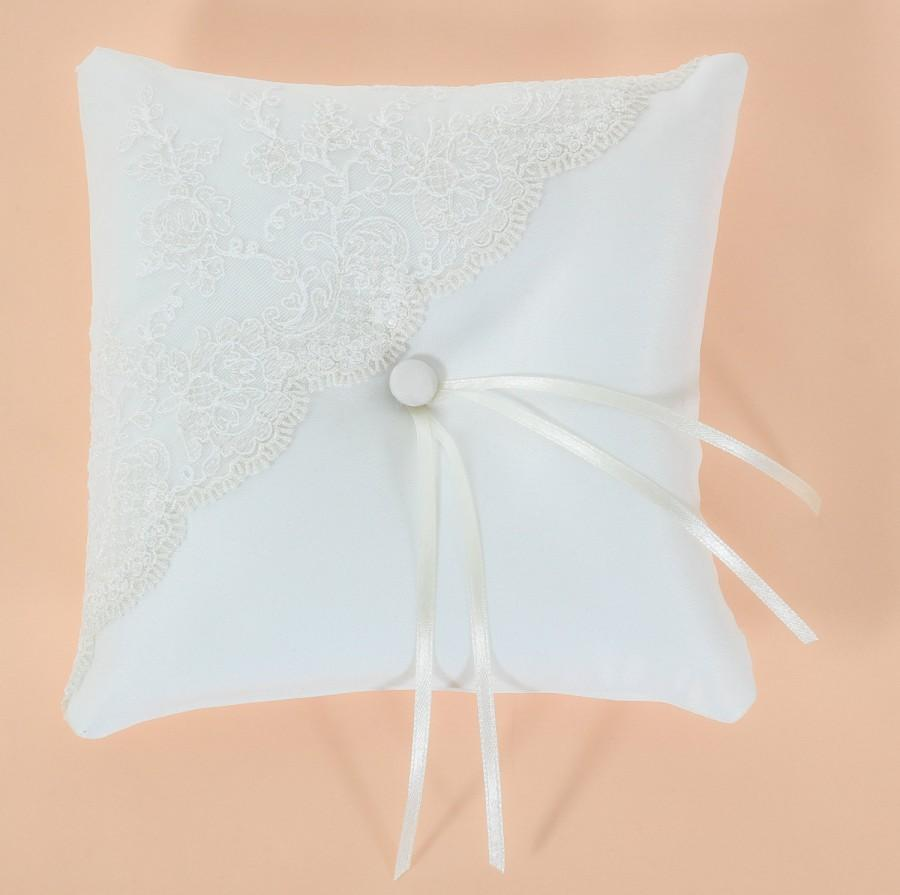 """Mariage - Wedding Ring Pillow, 6""""x 6"""" (15x15 cm), Ivory Ring Bearer Pillow, Elegant Wedding Ring Pillow, Color In Your Choice, lace Accent"""