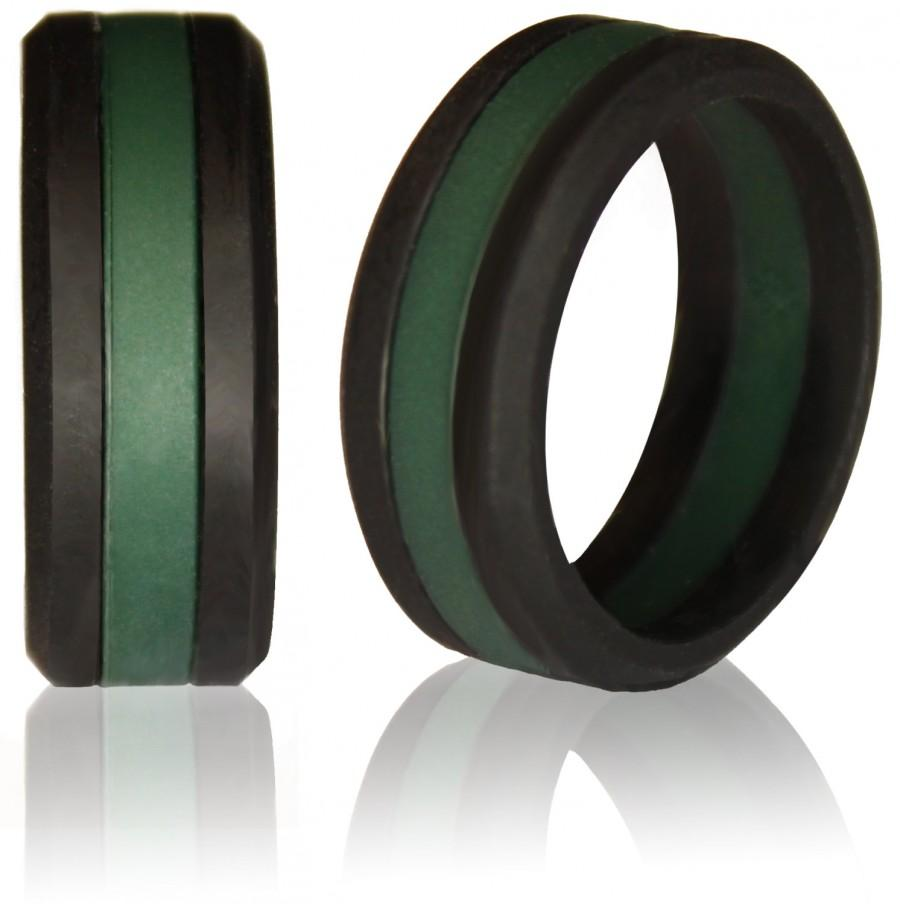 Wedding - Silicone Wedding Ring by Knot Theory - Safe & Lightweight Wedding Band (Black with Green Stripe)