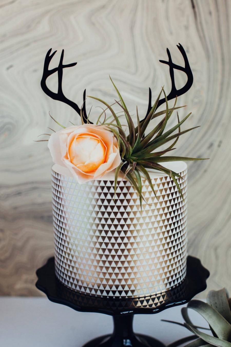 Mariage - Deer Antlers Cake Topper, Laser Cut, Acrylic,