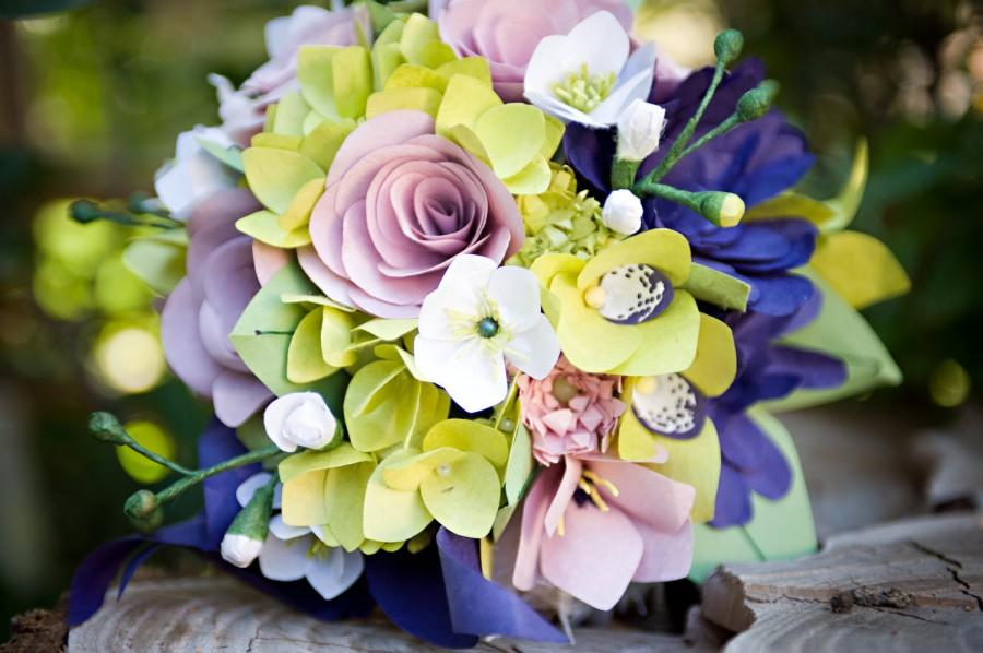 Düğün - Beautiful Purple and Green Handmade Paper Flower Wedding Flowers/Bridal Bouquet- spring, summer-- almost SPRING SALE 15% off