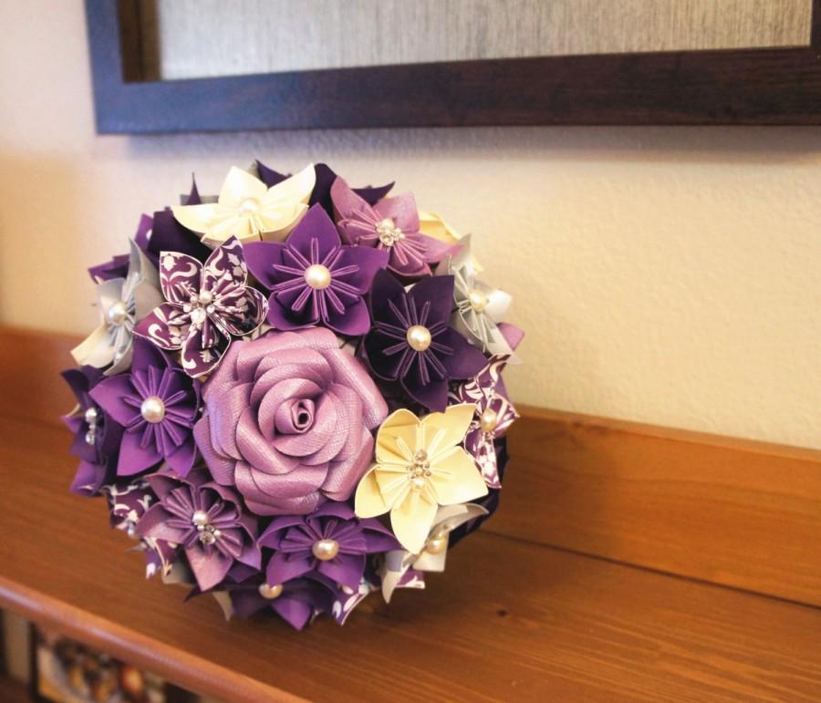 Purple paper flower bouquet selol ink custom wedding kusudama origami paper flower package bouquets mightylinksfo