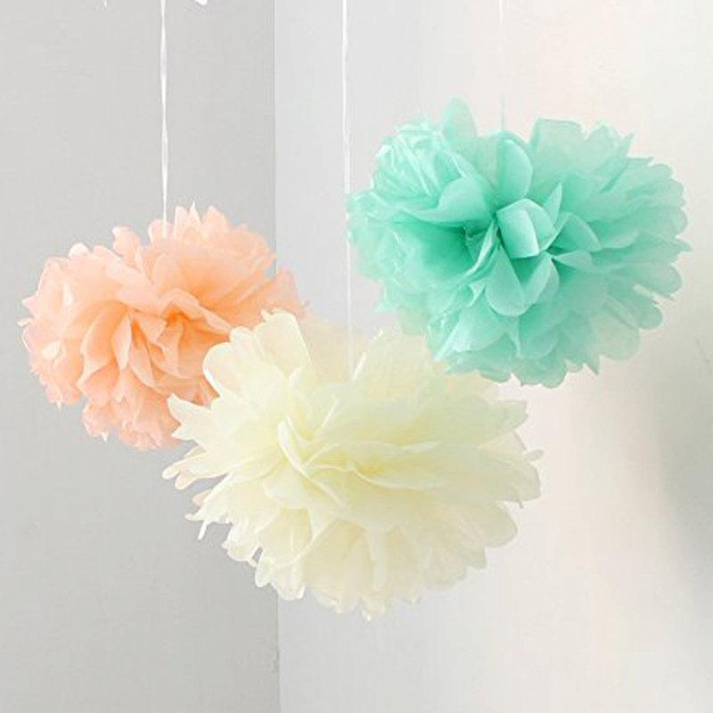 12pcs Mixed Peach Ivory Mint Diy Tissue Paper Flower Pom Poms