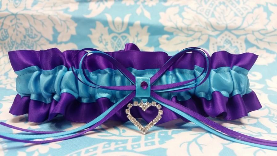Puple And Turquoise Wedding Garter Single Or Set Purple And