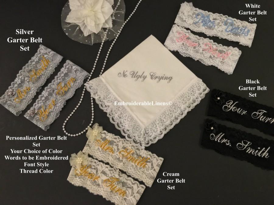 Mariage - Personalized Garter Belt Set, *FREE Gift Box Included!* Choice of Color, Embroidered with your name in your choice of font/thread color.