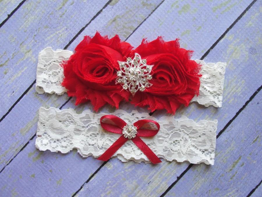 Свадьба - SALE Garters, Red Bridal Garter,  Red Wedding Garter, Garter Wedding, Wedding Garter Belt, Garter Sets, Christmas Wedding, Red Wedding