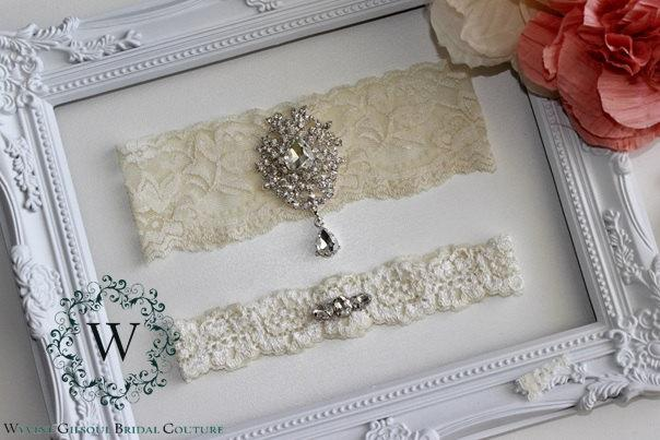 Свадьба - AMELIA - Ivory Lace Wedding Garter - Individual or Set - With Gift Box - White/Ivory/Pink Lace Garter - Rhinestone Garter - Wedding Garters