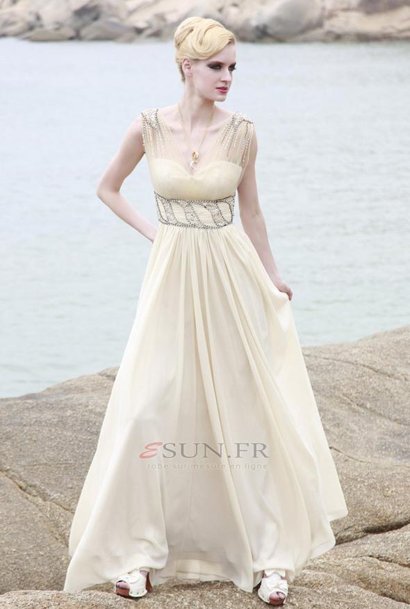 زفاف - Robe de soirée Chic Perle A-ligne Triangle Inversé Longue Taille Empire