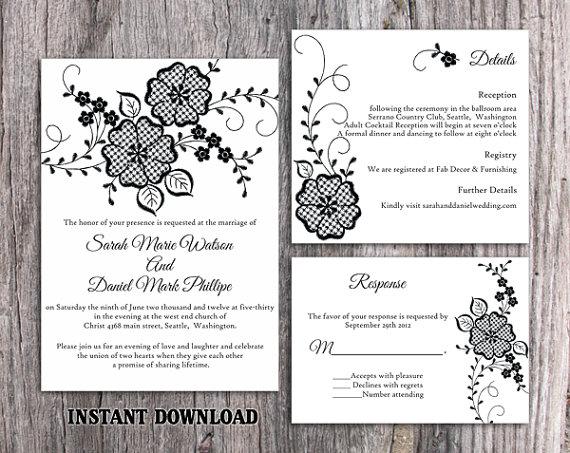 DIY Lace Wedding Invitation Template Set Editable Word File Download ...