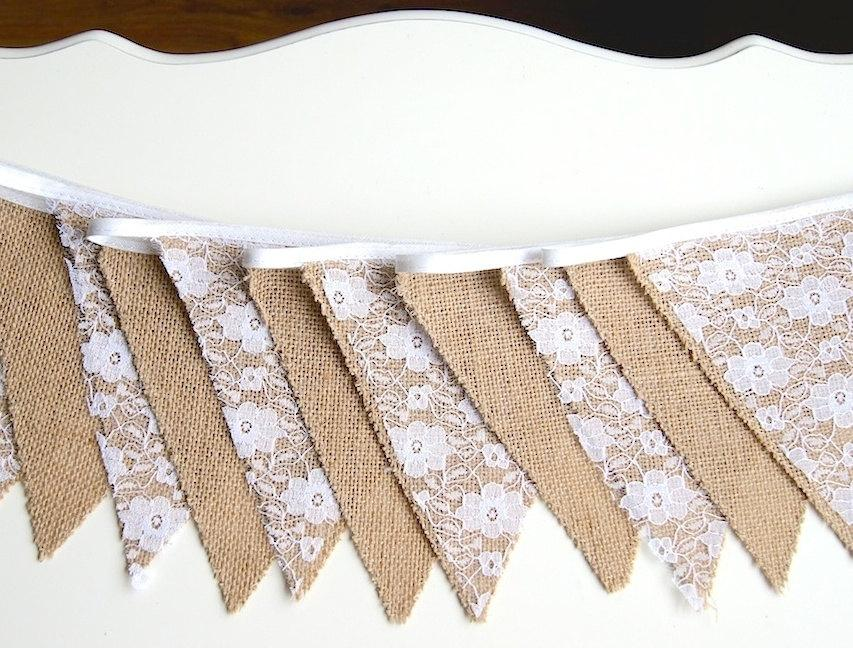 Свадьба - Rustic Bunting Banner, Burlap Lace Banner, Bridal Shower, Baby Shower, Party Decorations, Birthday Decor