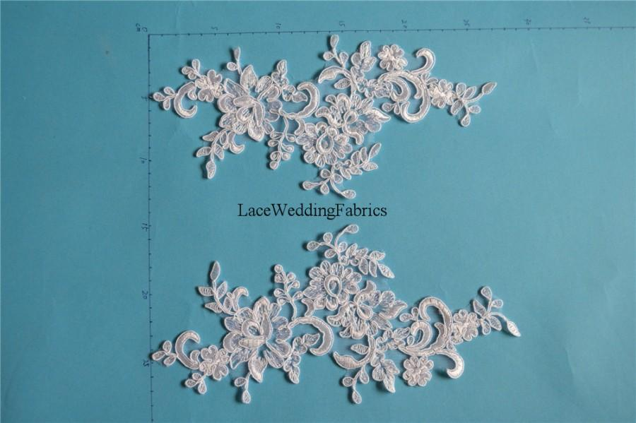 Свадьба - Quality Corded & Embroidered Bridal Wedding Lace Appliques Lace Motifs Wedding Dress Bridal Gowns Bridal Veils DIY Lace Appliques