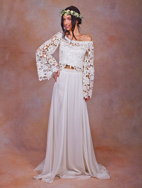 Alana 2 piece lace silk chiffon bohemian wedding dress for Wedding dresses 2 piece
