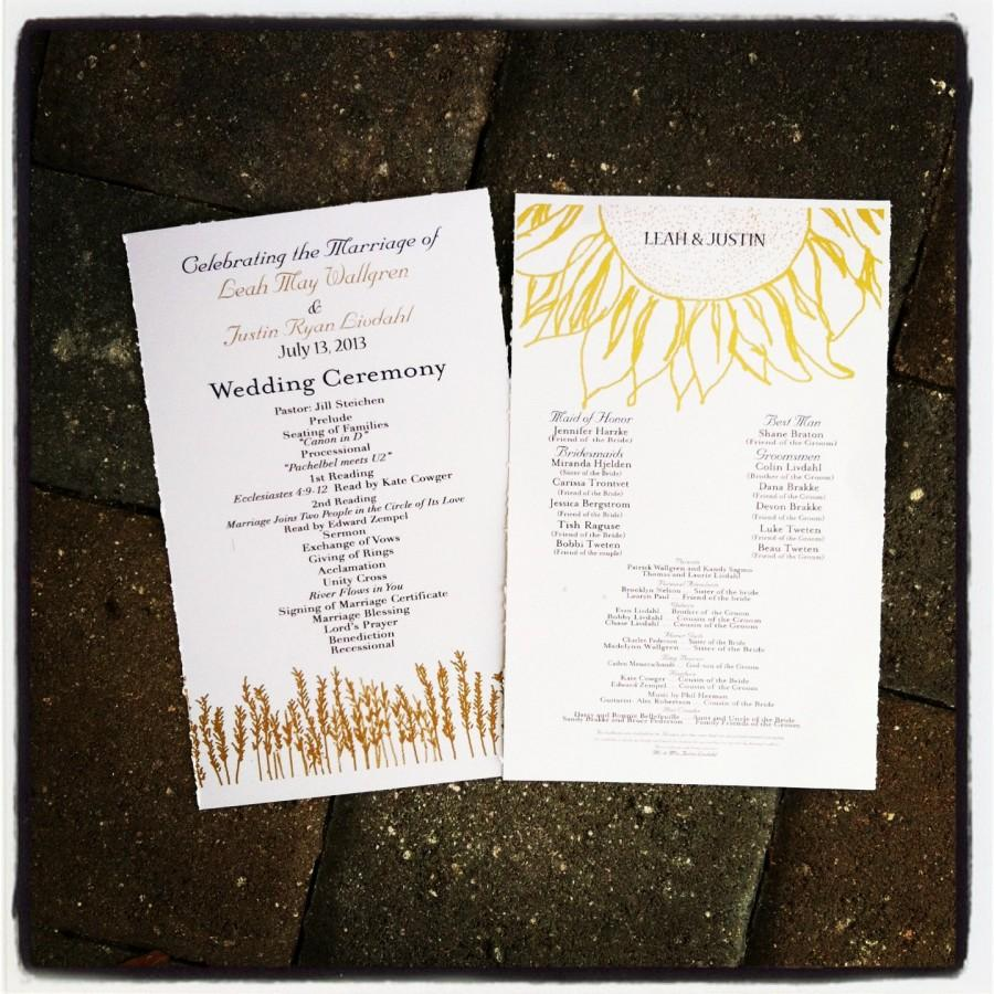 country sunflower rustic wedding programs with wheat 75 programs