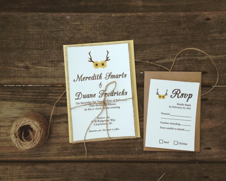 Rustic Sunflowers Wedding Invitation On Linen With Antlers And Natural Burlap Yellow Envelopes Kraft Reply Cards 75 Count