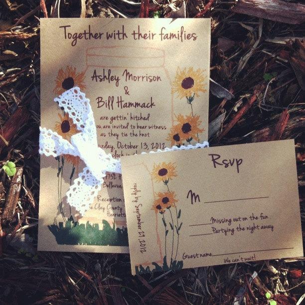 زفاف - Mason Jar  Sunflowers Wedding Invitation DIGITAL FILE