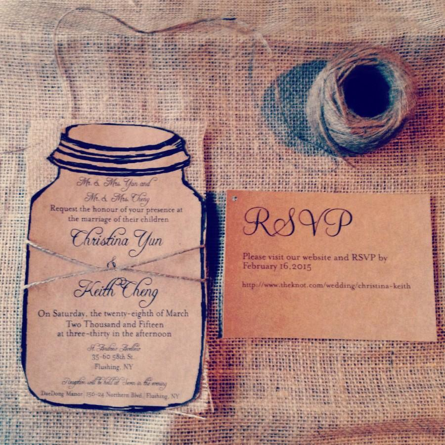 Rustic Kraft Mason Jar Wedding Invitation With Natural