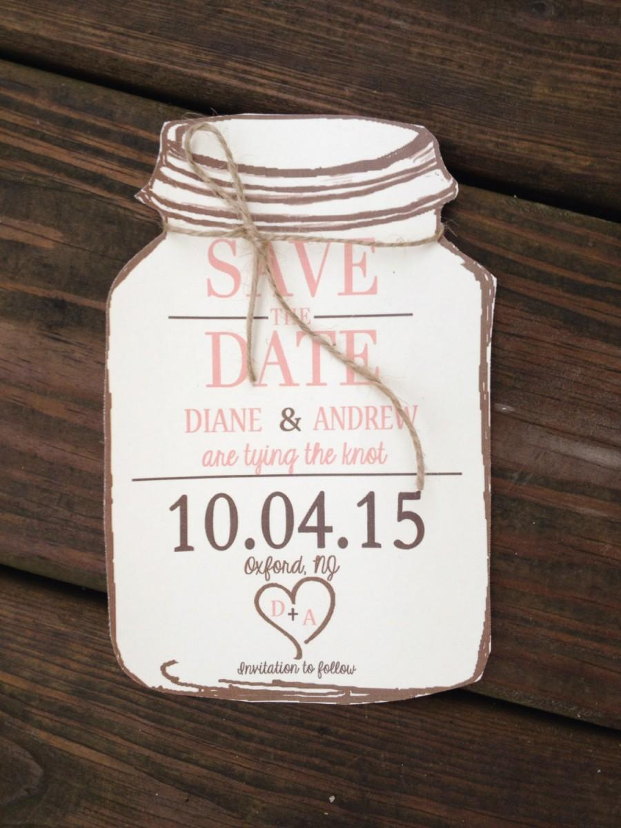 Wedding - Rustic Mason Jar Save the Dates with envelopes- 50