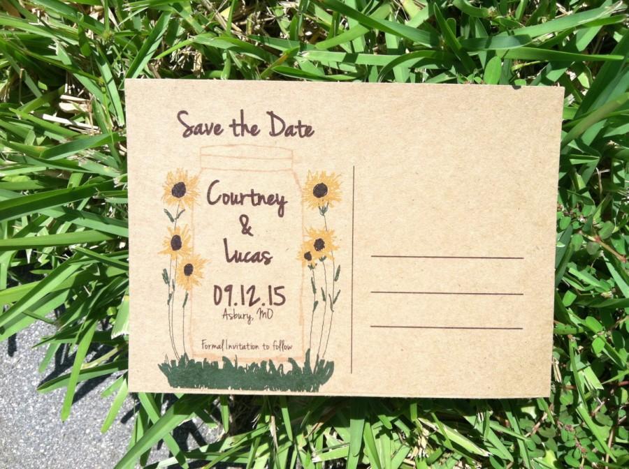 زفاف - Mason Jar with sunflowers save the dates DIGITAL FILE