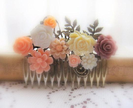 Mariage - Peach Wedding Hair Comb Apricot Coral Plum Mauve Bridal Headpiece Flower Comb Bridesmaids Gift Hair Slide Rustic Garden Woodland Theme