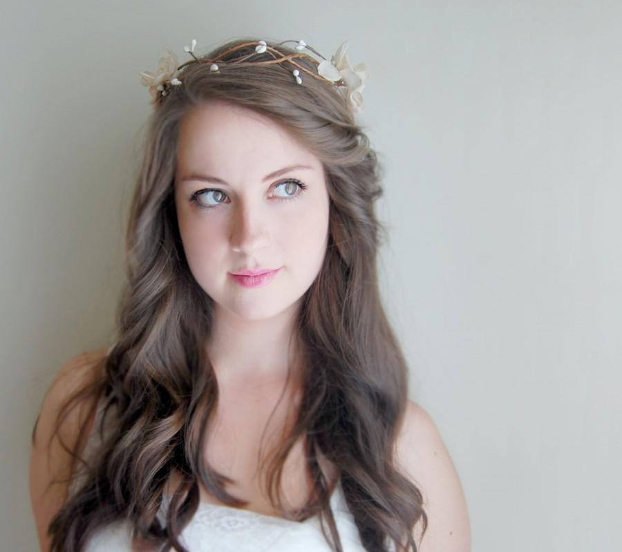 Mariage - Bridal Flower Crown, Woodland Bridal Hair Accessories - Antique Taupe and White Crown