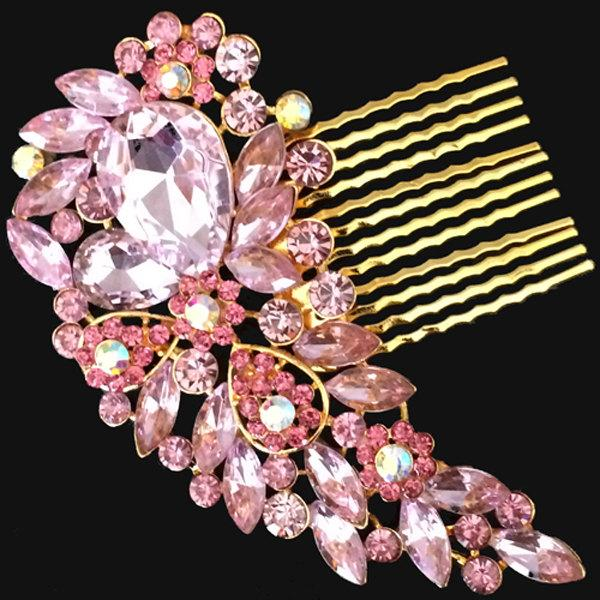Mariage - Gold Pink Vintage Style Hair Comb Encrusted Clear Crystals Diamante Hair Clip Slide Fascinator Pin Brooch Bridal Bouquet Wedding Accessory