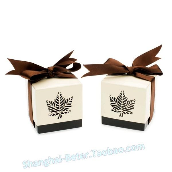 Wedding - 12 PCS Brown leaf favor Box quality party decoration th012