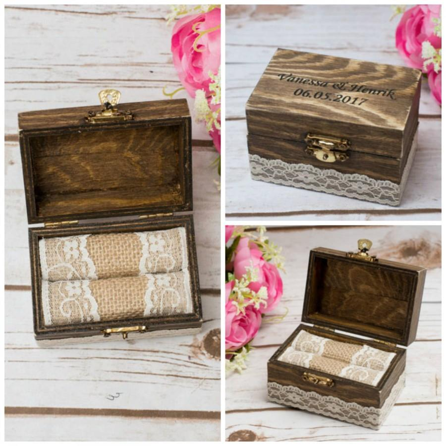 زفاف - Rustic Wedding Ring Box Rustic Personalized Bearer Love Sign Ring Holder His and Hers Wedding