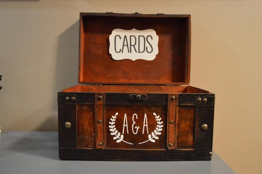 Mariage - Large Rustic Wedding Card Box Holder, Rustic Gift Card Box with initials, Rustic Trunk Wedding Box with Custom Initials G1G