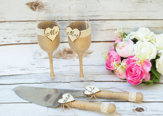 Toasting Gles Flutes Rustic Cake Serving Set Personalized Knife Champagne Wedding