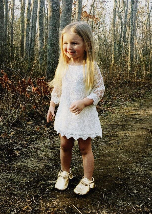 Wedding - Girls white dress. White lace flower girl dress. Country flower girl dress. Toddler dress