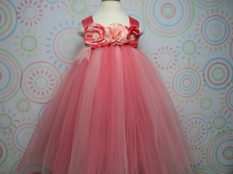 Mariage - Ready to ship fits baby to 2T 3T flower girl coral peach tutu dress & headband wedding cake smash pageant princess photo prop party birthday