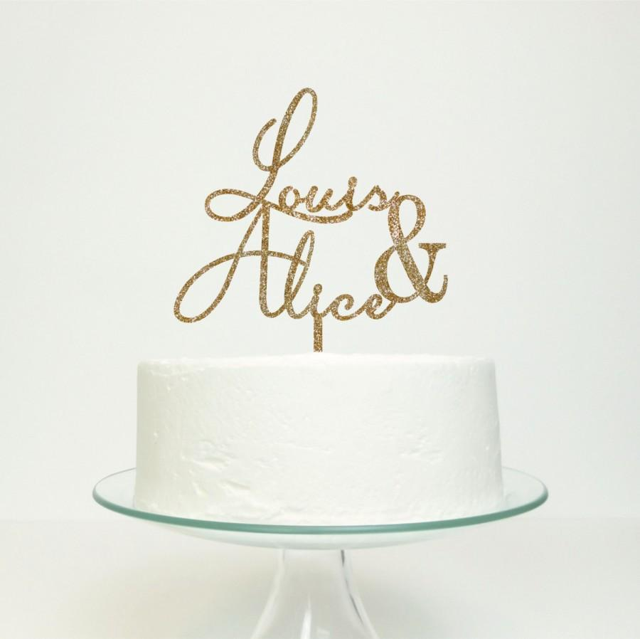 Mariage - Personalised Couples Name Cake Topper - Wedding Engagement Anniversary Cake Decoration