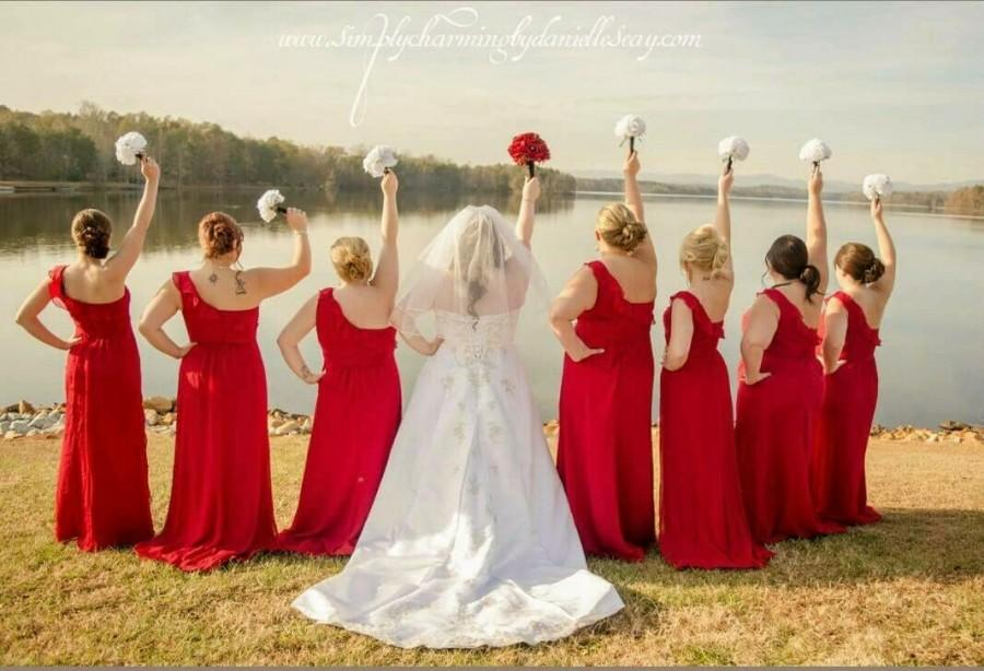 Red and white rose wedding dress