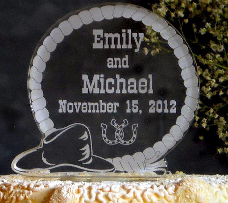 Mariage - WESTERN  Wedding Cake Topper  - Engraved & Personalized